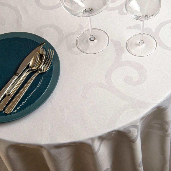 Nappe Ronde Arabesque Coton 230 Grs M2 Professionnel Restaurant Linvosges Hotellerie 1